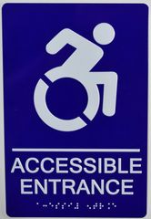Accessible Entrance Sign- BLUE (ALUMINUM SIGNS 9X6)