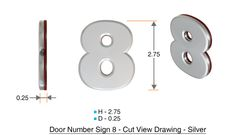 z- APARTMENT, DOOR AND MAILBOX NUMBER EIGHT SIGN - 8 SIGN- SILVER (HIGH QUALITY PLASTIC DOOR SIGNS 0.25 THICK)