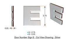 z- APARTMENT, DOOR AND MAILBOX LETTER E SIGN - LETTER SIGN E- SILVER (HIGH QUALITY PLASTIC DOOR SIGNS 0.25 THICK)