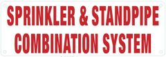 SPRINKLER AND STANDPIPE COMBINATION SYSTEM SIGN (ALUMINUM SIGNS 4X12)