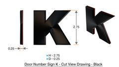 z- APARTMENT, DOOR AND MAILBOX LETTER K SIGN - LETTER SIGN K- BLACK (HIGH QUALITY PLASTIC DOOR SIGNS 0.25 THICK)
