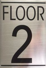 FLOOR NUMBER TWO (2) SIGN - BRUSHED ALUMINUM