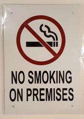 NO SMOKING ON PREMISES SIGN– WHITE ALUMINUM (10X7)