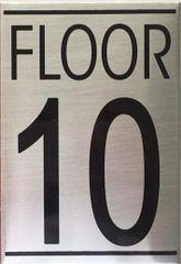 FLOOR NUMBER TEN (10) SIGN - BRUSHED ALUMINUM