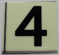 PHOTOLUMINESCENT DOOR NUMBER 4 SIGN (GLOW IN THE DARK HIGH INTENSITY SELF STICKING PVC HEAVY DUTY STICKER SIGN AND APT # MARKING 1X1)