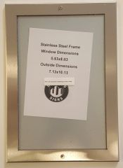 ELEVATOR CERTIFICATE FRAME STAINLESS STEEL (SIZE 5.63'' X 8.63'')