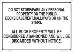 No Storage in the Hallway sign