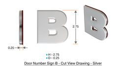 z- APARTMENT, DOOR AND MAILBOX LETTER B SIGN - LETTER SIGN B- SILVER (HIGH QUALITY PLASTIC DOOR SIGNS 0.25 THICK)