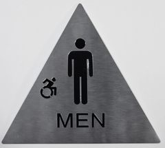 MEN ACCESSIBLE RESTROOM SIGN- SILVER- BRAILLE (ALUMINUM SIGNS 9X6)