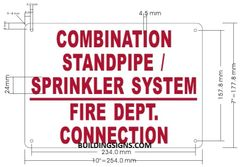 COMBINATION STANDPIPE/ SPRINKLER SYSTEM FIRE DEPARTMENT CONNECTION SIGN (ALUMINUM SIGNS 7X10)