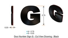 z- APARTMENT, DOOR AND MAILBOX LETTER G SIGN - LETTER SIGN G- BLACK (HIGH QUALITY PLASTIC DOOR SIGNS 0.25 THICK)