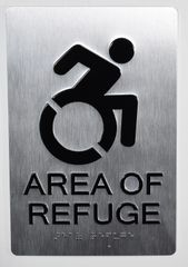 AREA OF REFUGE SIGN – SILVER - BRAILLE (ALUMINUM SIGNS 9X6)