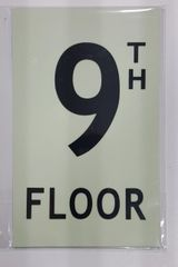FLOOR NUMBER SIGN - 9TH FLOOR SIGN - PHOTOLUMINESCENT GLOW IN THE DARK SIGN (PHOTOLUMINESCENT ALUMINUM SIGNS 8X5)
