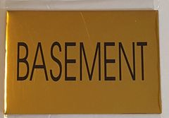 BASEMENT SIGN – GOLD ALUMINUM (4X5.75)