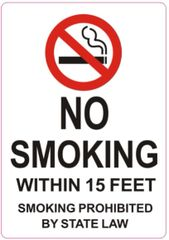 NO SMOKING WITHIN 15 FEET SMOKING PROHIBITED BY STATE LAW SIGN (STICKER 5X3.5)