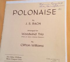 Music - Bach Polanaise for Woodwind Trio