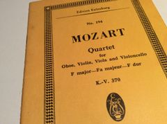 Music - Mozart - Quartet K. 370 - score and parts - oboe, violin, viola, cello