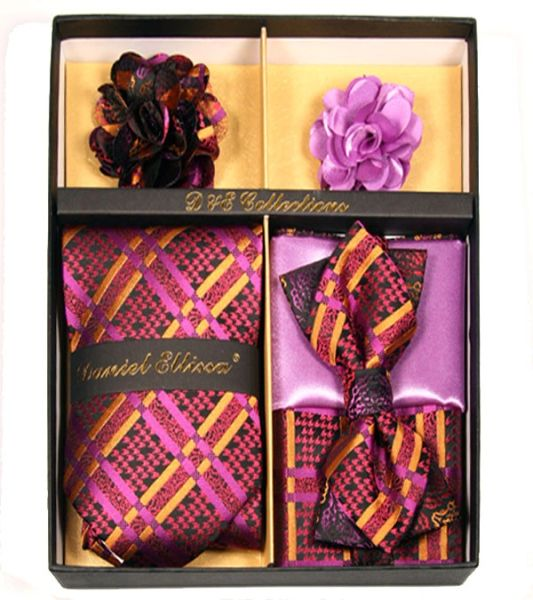 b42fe5bde 6 Piece Men s Purple Fuchsia Pink   Gold Necktie   Bow Tie Combo Set with 2