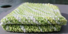 Lime and White Cotton Dishcloth