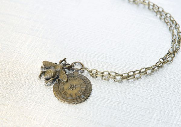 Beautiful honey bee and clock face pendant bee on time organic beautiful honey bee pendant with chain bee on time aloadofball Images