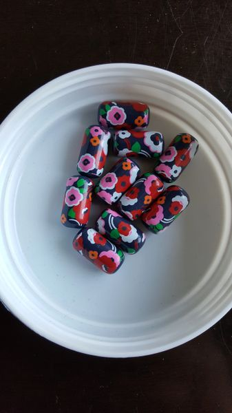 Flower print Tube Bead 20mm (10pcs)