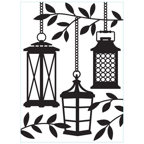 Lanterns in Trees - Darice Embossing Folder - 4.25 x 5.75 inches