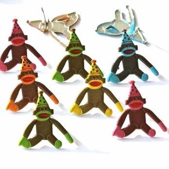 Birthday Sock Monkey Brads by Eyelet Outlet