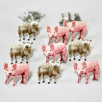 Pig and Sheep Farm Animal Brads by Eyelet Outlet