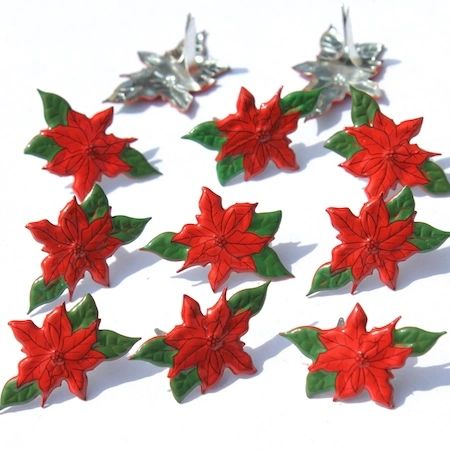 Poinsettia brads (12pcs) by Eyelet Outlet