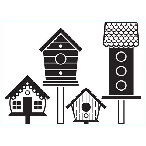 Birdhouses on Posts - Darice Embossing Folder - 4.25 x 5.75 inches