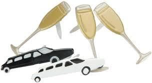 Celebrate Brads (Limo & Champagne Glass) by Eyelet Outlet