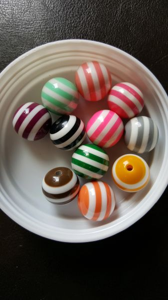 Striped 20mm gumball beads.