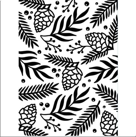 Greens Sprig Berries Background - Darice Embossing Folder - 4.25 x 5.75 inches