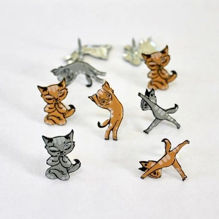 Yoga Cats brads by Eyelet Outlet