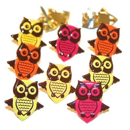 Owl Brads (bright) by Eyelet Outlet