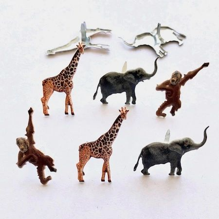 Jungle Animal Brad mix (12pcs) by Eyelet Outlet