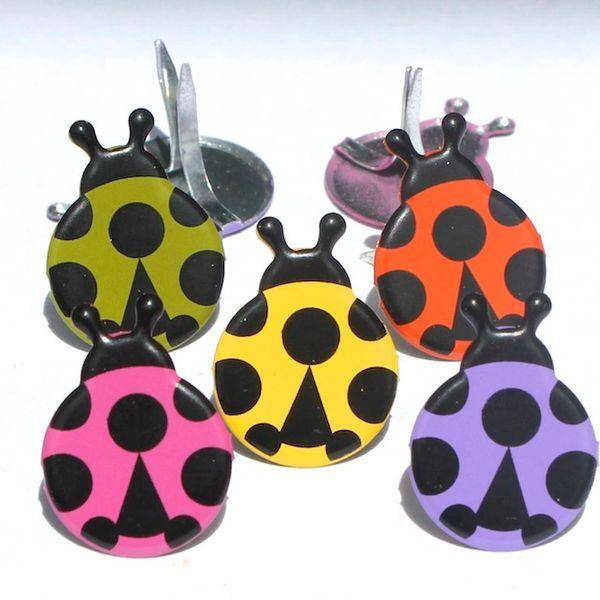 Ladybug brads (coloured) by Eyelet Outlet