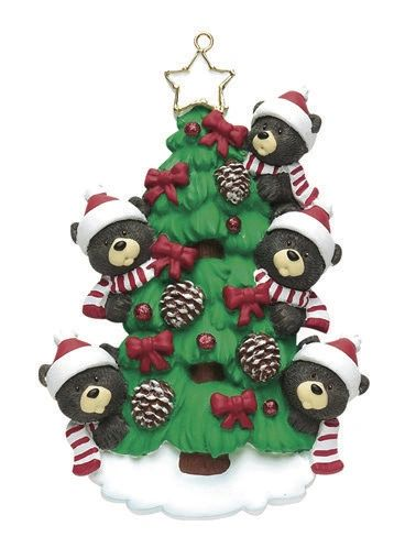 BEAR TREE FAMILY OF 5 PERSONALIZED ORNAMENT