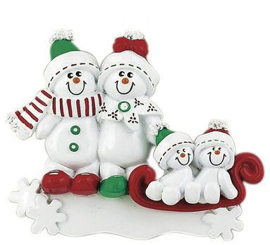SNOWMAN SLED FAMILY OF 4 PERSONALIZED ONAMENT