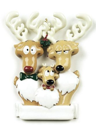 REINDEER FAMILY OF 3 PERSONALIZED ORNAMENT