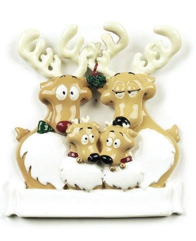REINDEER FAMILY OF 4 PERSONALIZED ORNAMENT