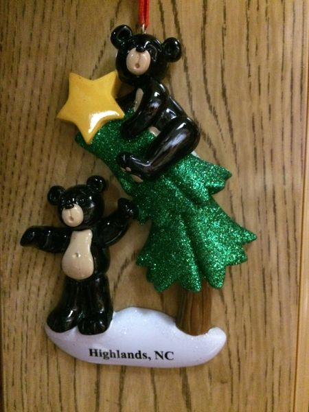 BLACK BEAR TREE HIGHLANDS NC ORNAMENT
