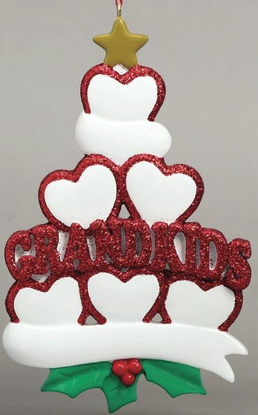 GRANDKIDS HEARTS 6 PERSONALIZED ORNAMENT