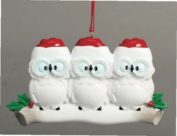 WISE OWLS FAMILY OF 3 PERSOALIZED ORNAMENT