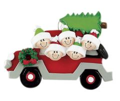 CHRISTMAS TREE CARAVAN FAMILY OF 5 PERSONALIZED ORNAMENT