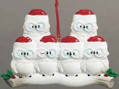 WISE OWLS FAMILY OF 6 PERSONALIZED ORNAMENT