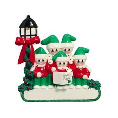 CAROLER FAMILY OF 5 PERSONALIZED ORNAMENT
