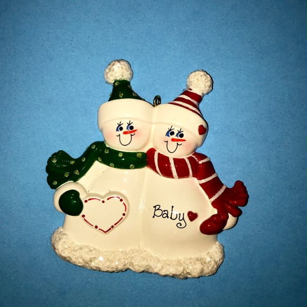 EXPECTING SNOW COUPLE PERSONALIZED ORNAMENT