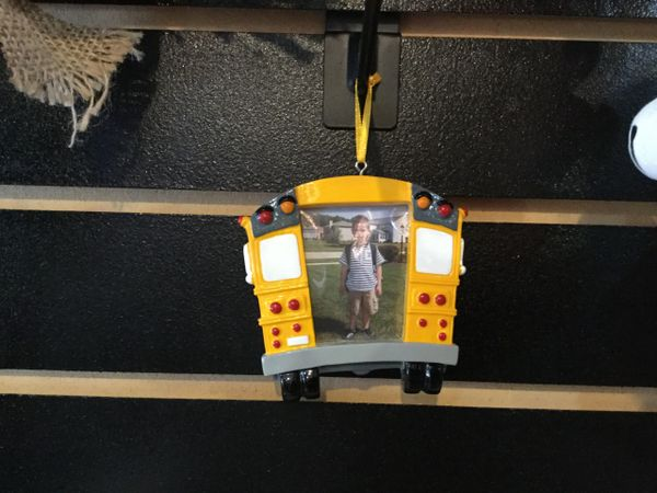 SCHOOL BUS PICTURE FRAME PERSONALIZED ORNAMENT