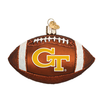 Old World Georgia Tech Football Glass Ornament
